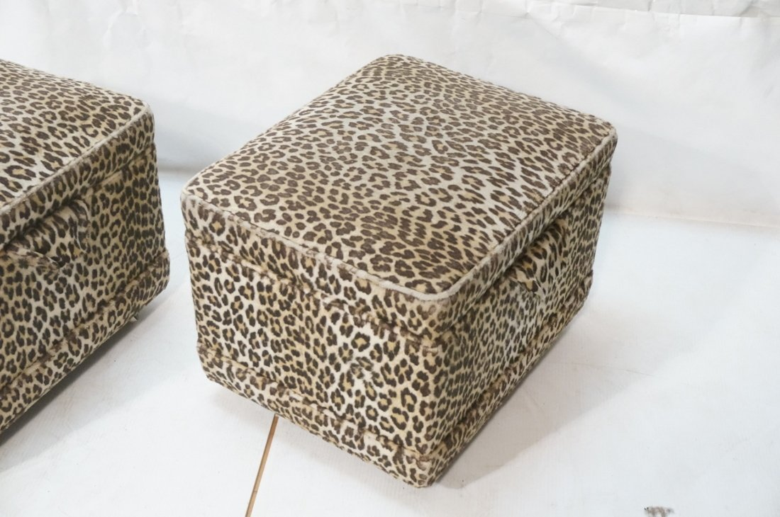 Pr Plush Leopard Fabric Rolling Stools. On caster - 3