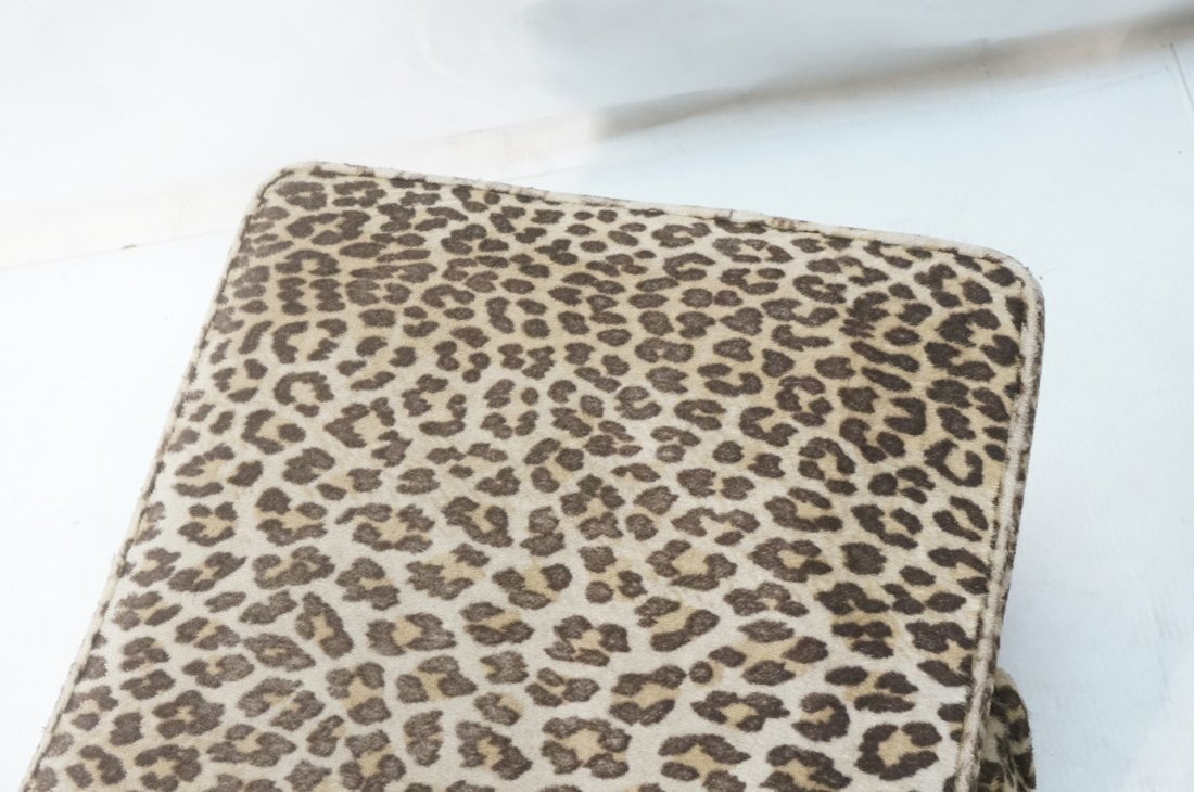 Pr Plush Leopard Fabric Rolling Stools. On caster - 4