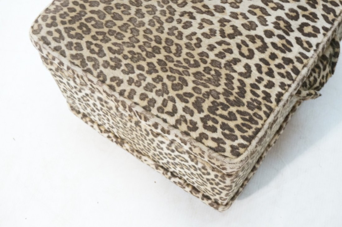 Pr Plush Leopard Fabric Rolling Stools. On caster - 5