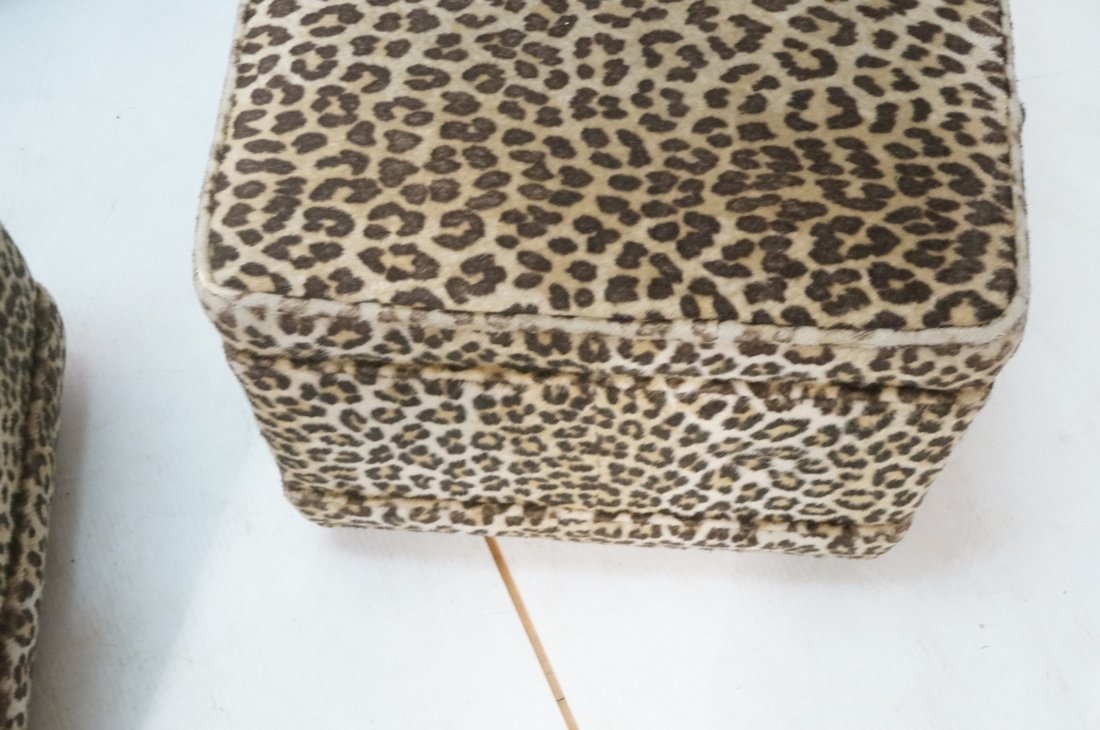 Pr Plush Leopard Fabric Rolling Stools. On caster - 6