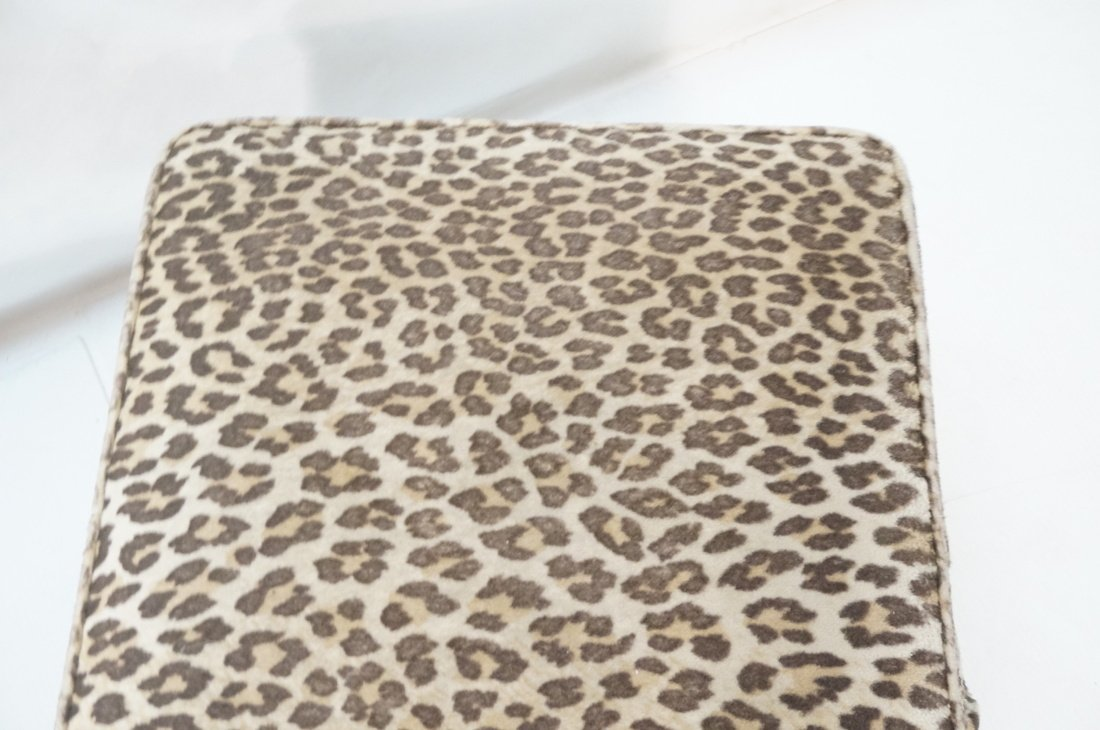 Pr Plush Leopard Fabric Rolling Stools. On caster - 7