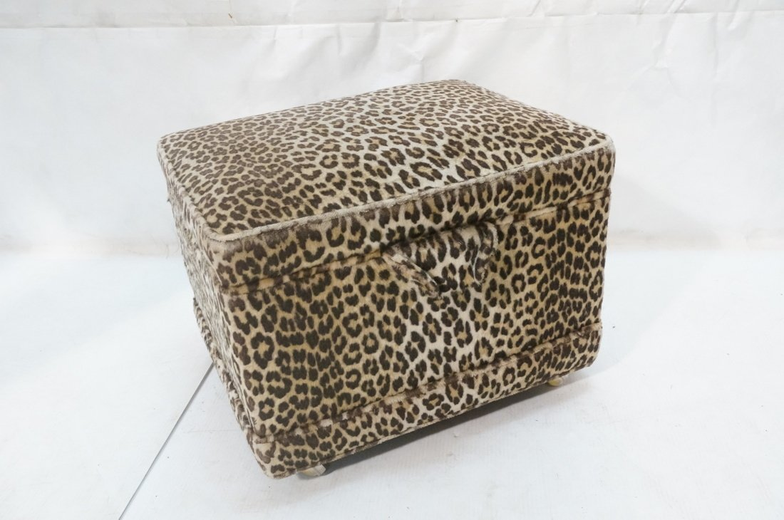 Pr Plush Leopard Fabric Rolling Stools. On caster - 8