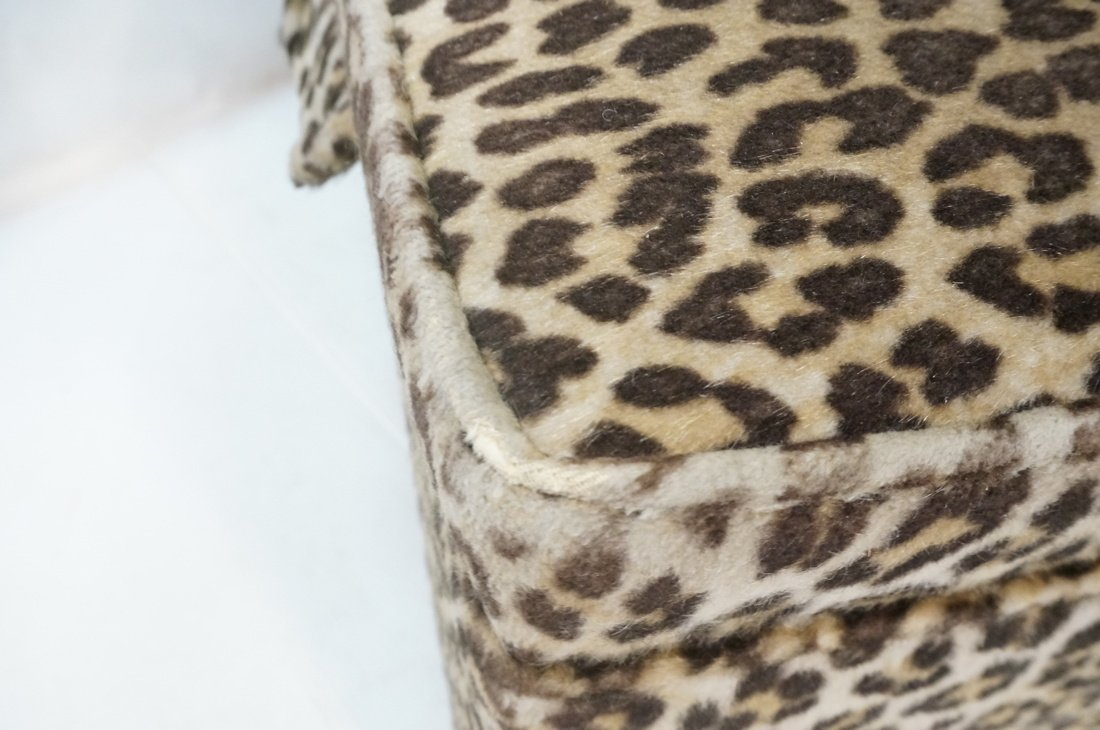 Pr Plush Leopard Fabric Rolling Stools. On caster - 9