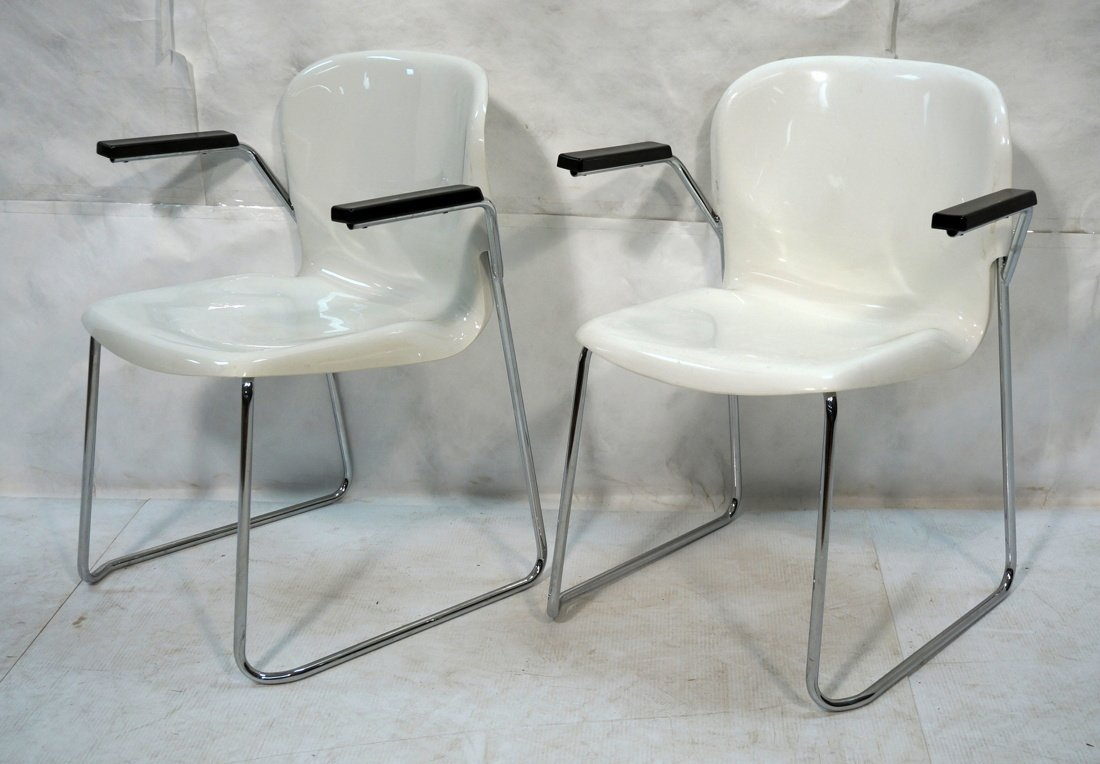 Pr GERD LANGE Molded White Shell Lounge Chairs. C