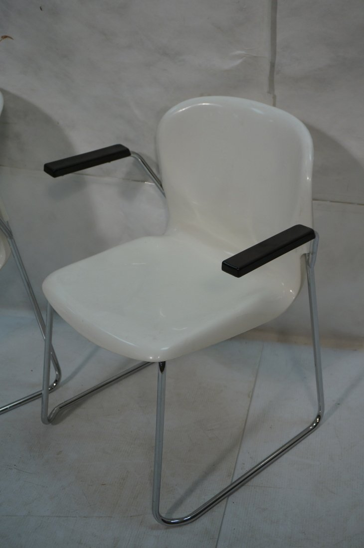 Pr GERD LANGE Molded White Shell Lounge Chairs. C - 2