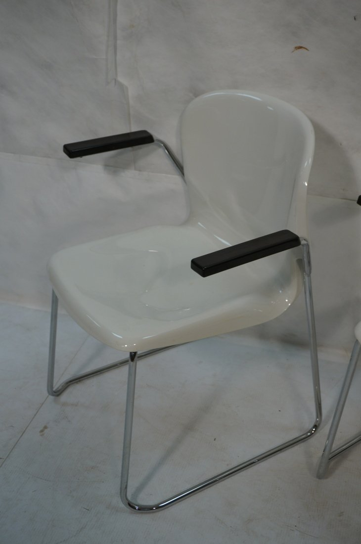 Pr GERD LANGE Molded White Shell Lounge Chairs. C - 3