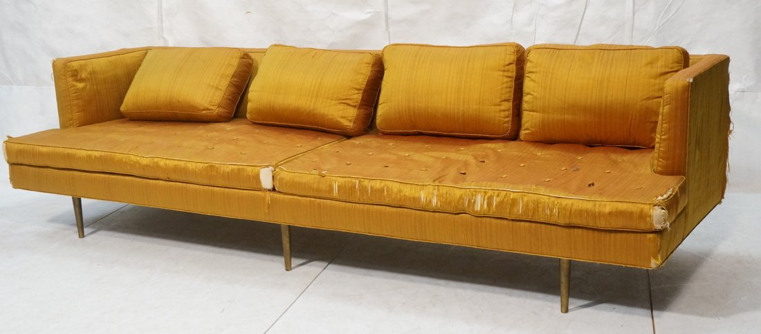 DUNBAR Long Gold Fabric Modernist Sofa. Gold meta