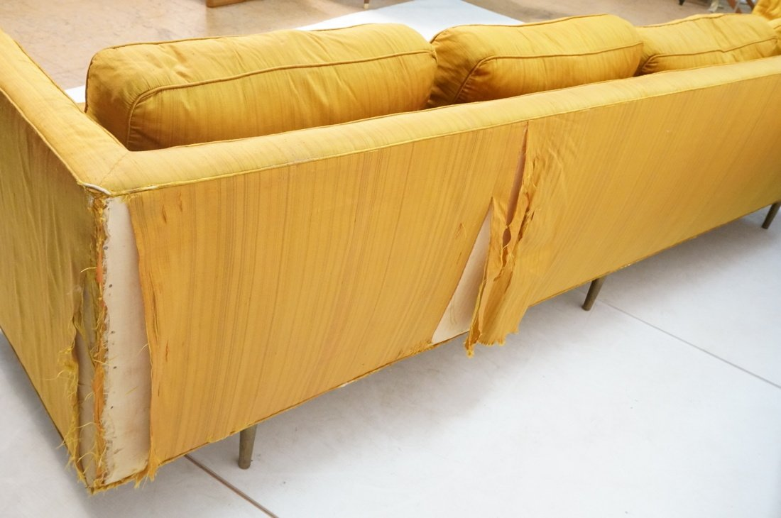 DUNBAR Long Gold Fabric Modernist Sofa. Gold meta - 6