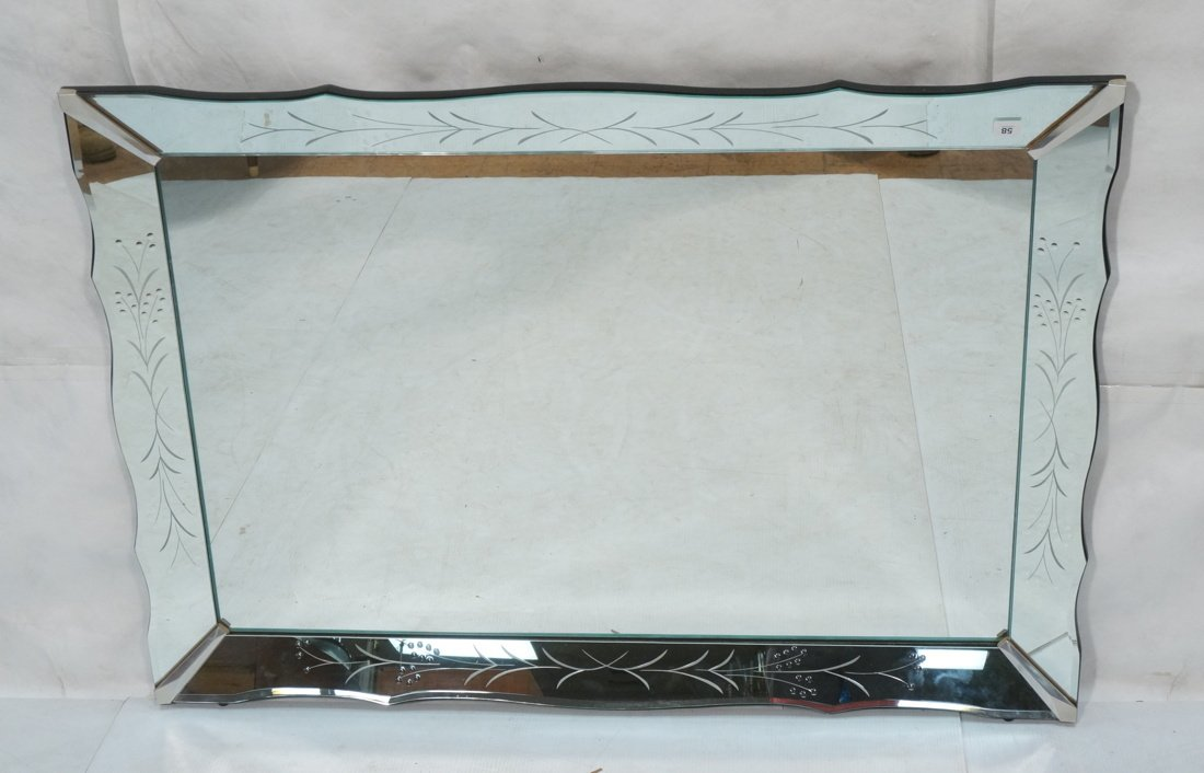 Large Vintage Etched Mirror Frame Wall Mirror. Be