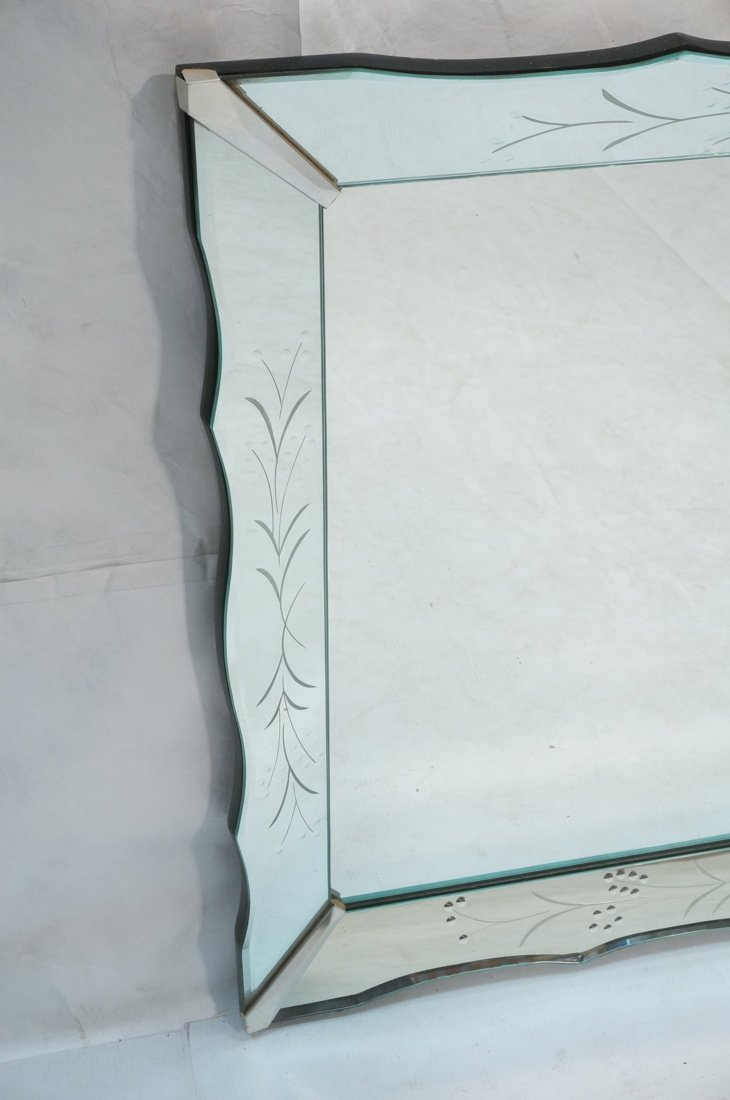Large Vintage Etched Mirror Frame Wall Mirror. Be - 2