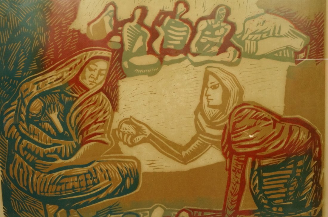 "ALFREDO ZALCE Wood Block Print. ""Mercado"" Three s - 2"