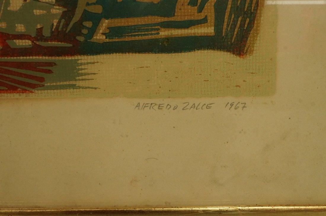 "ALFREDO ZALCE Wood Block Print. ""Mercado"" Three s - 3"