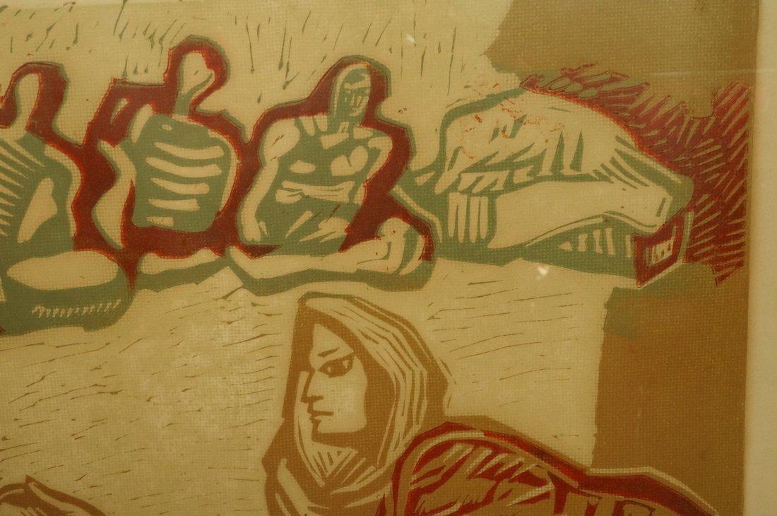 "ALFREDO ZALCE Wood Block Print. ""Mercado"" Three s - 5"