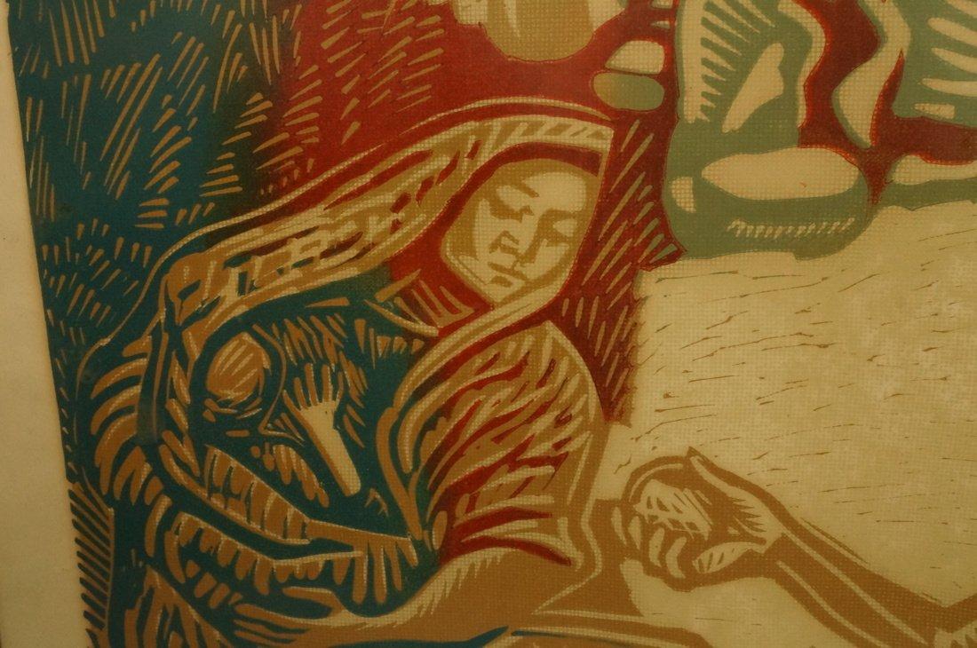 "ALFREDO ZALCE Wood Block Print. ""Mercado"" Three s - 6"