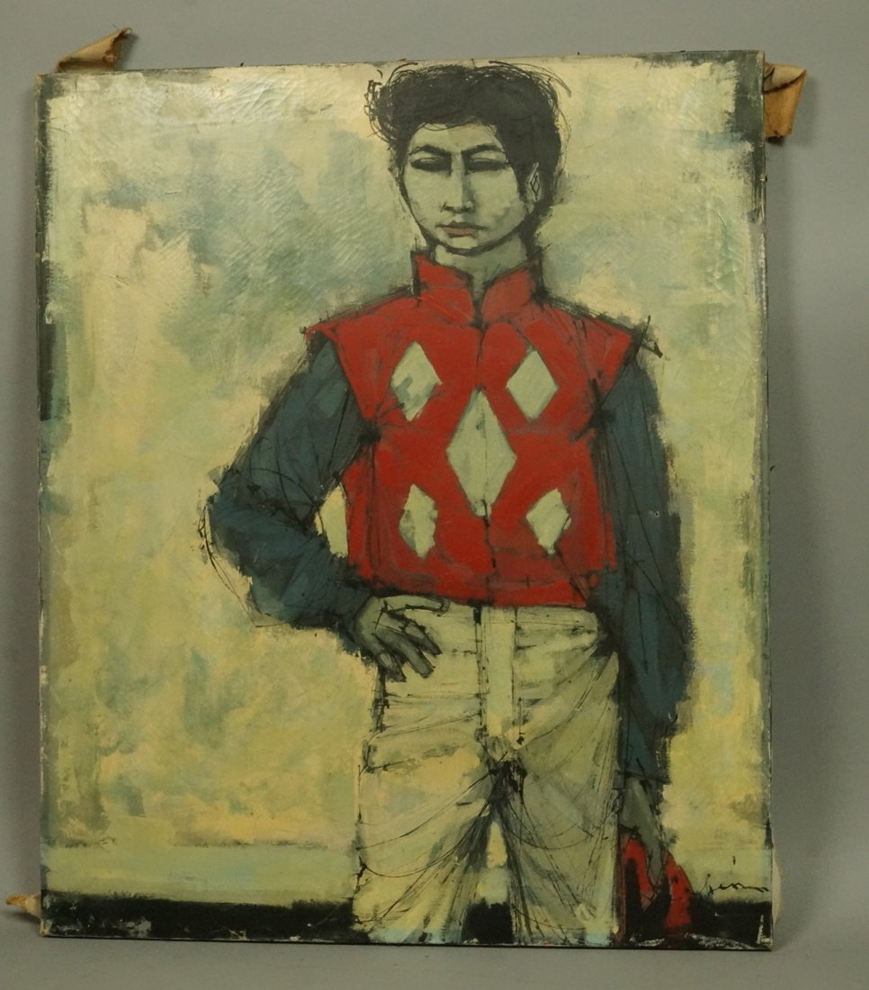 CABANISS Oil Painting. Jockey in red. Signed Mode