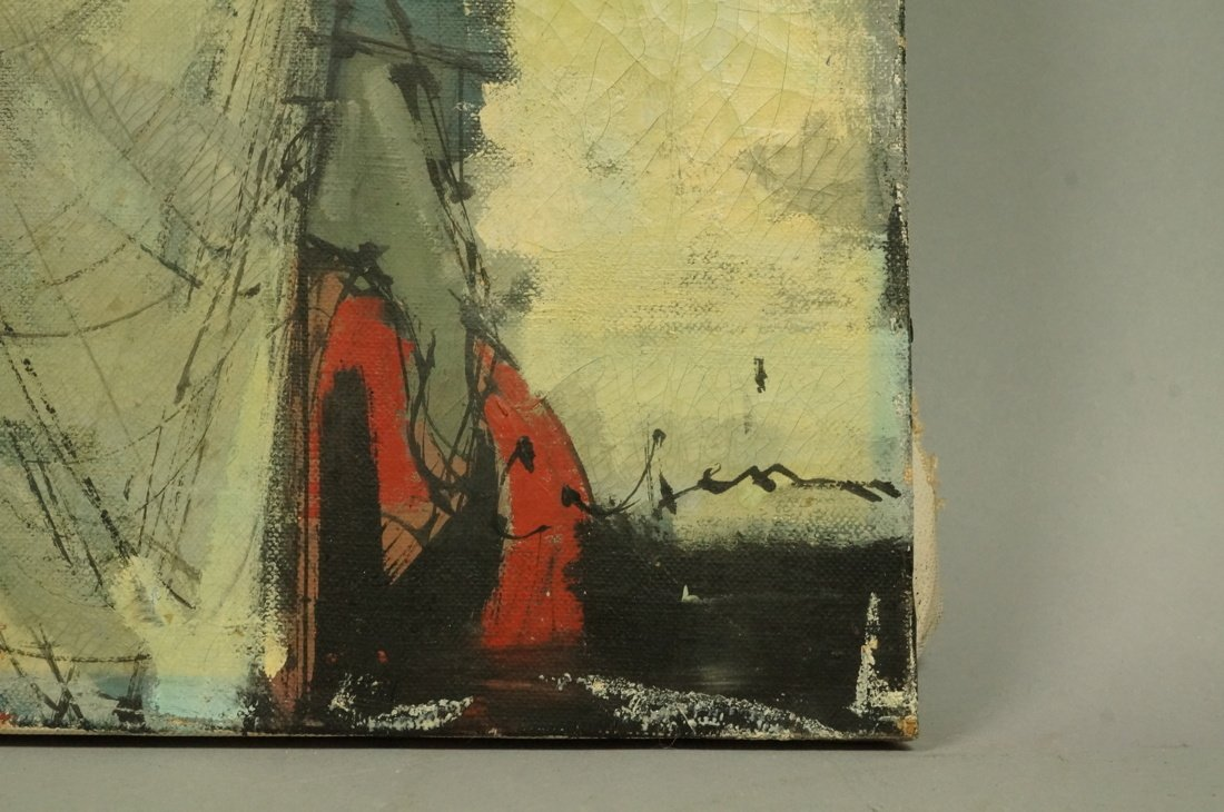 CABANISS Oil Painting. Jockey in red. Signed Mode - 2