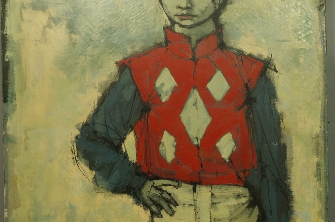 CABANISS Oil Painting. Jockey in red. Signed Mode - 4
