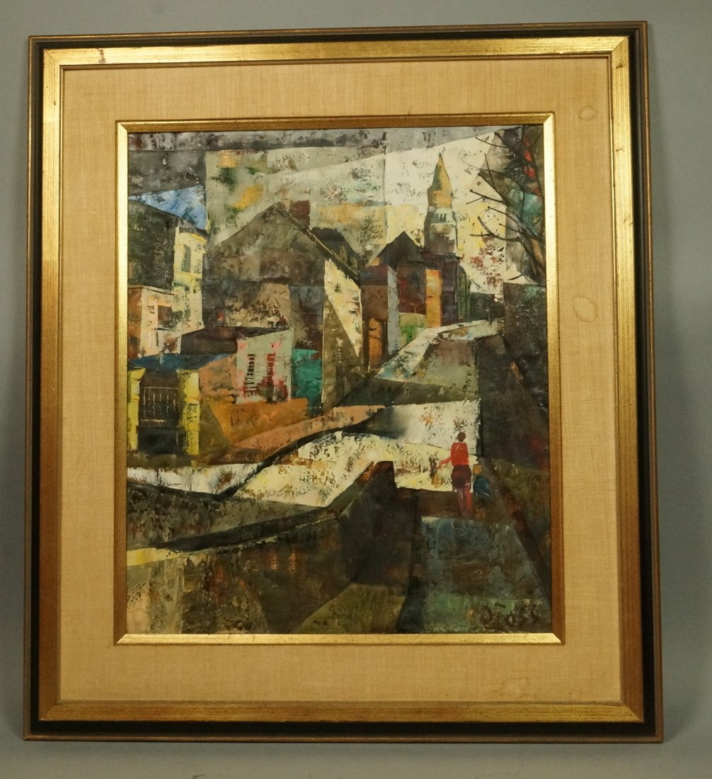 O FOSS Oil Painting. Modernist townscape with ste