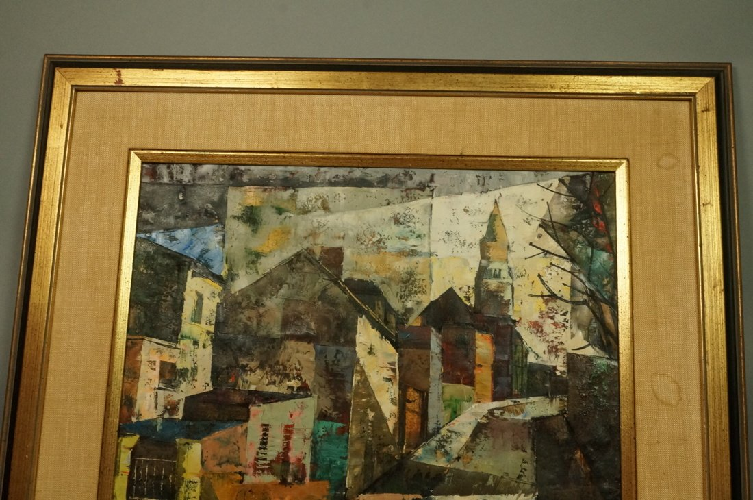 O FOSS Oil Painting. Modernist townscape with ste - 2