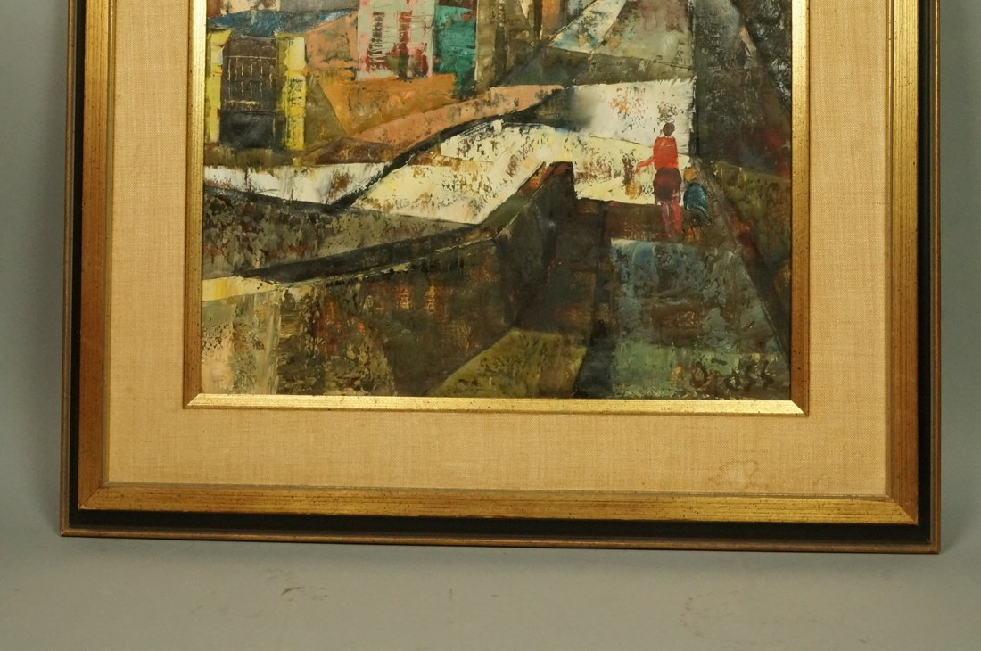 O FOSS Oil Painting. Modernist townscape with ste - 3