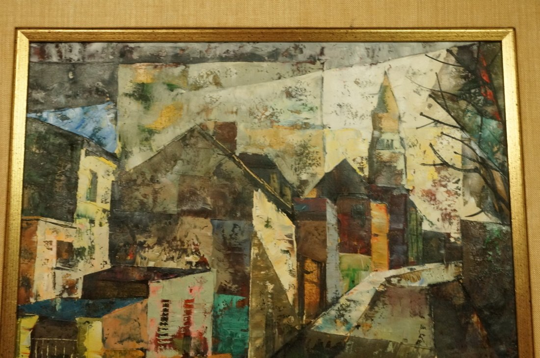 O FOSS Oil Painting. Modernist townscape with ste - 4