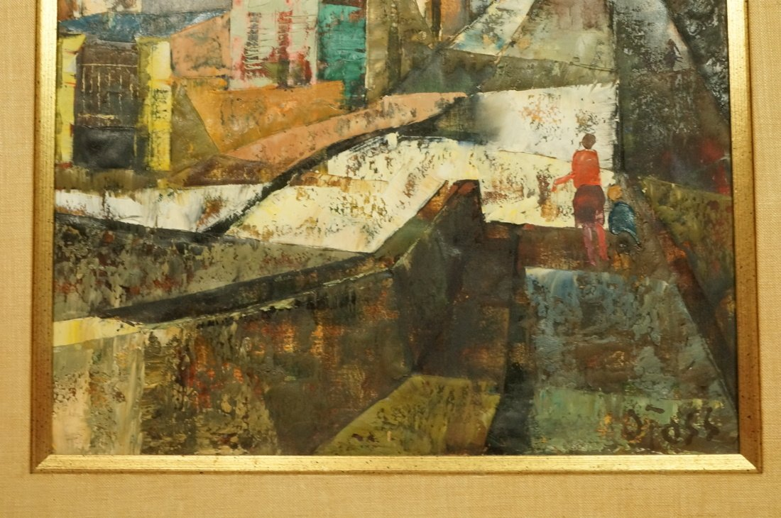 O FOSS Oil Painting. Modernist townscape with ste - 5