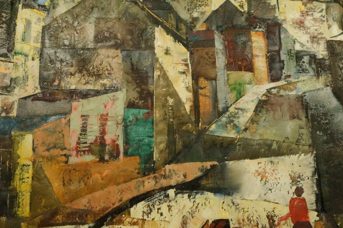 O FOSS Oil Painting. Modernist townscape with ste - 6