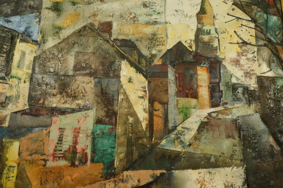 O FOSS Oil Painting. Modernist townscape with ste - 8