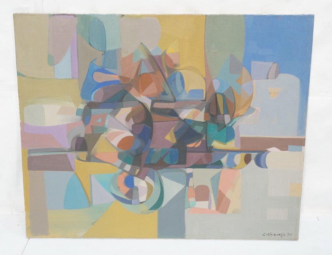 Claude Marangio Cubist Oil Painting. Modernist co