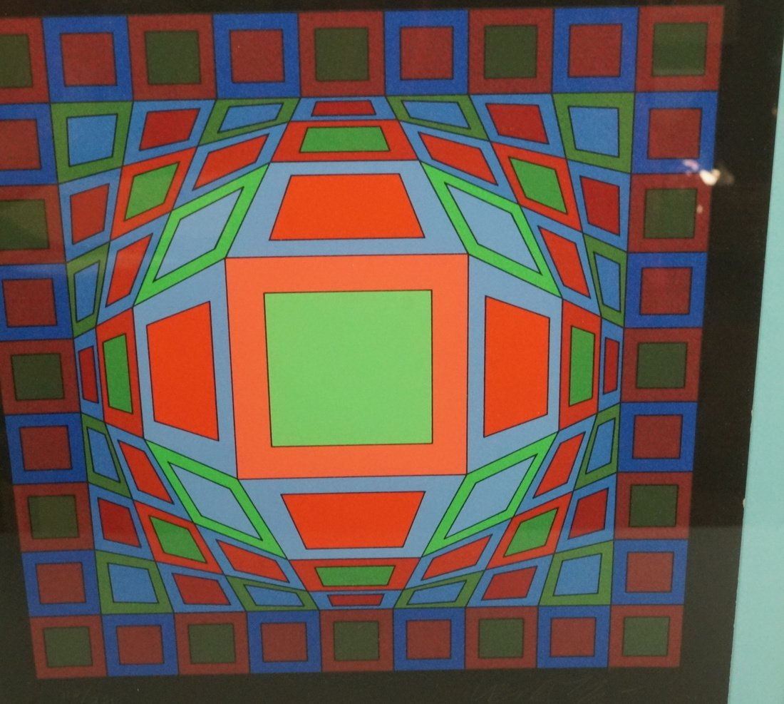 Victor Vasarely Op Art  Block Colorful Print. Sig