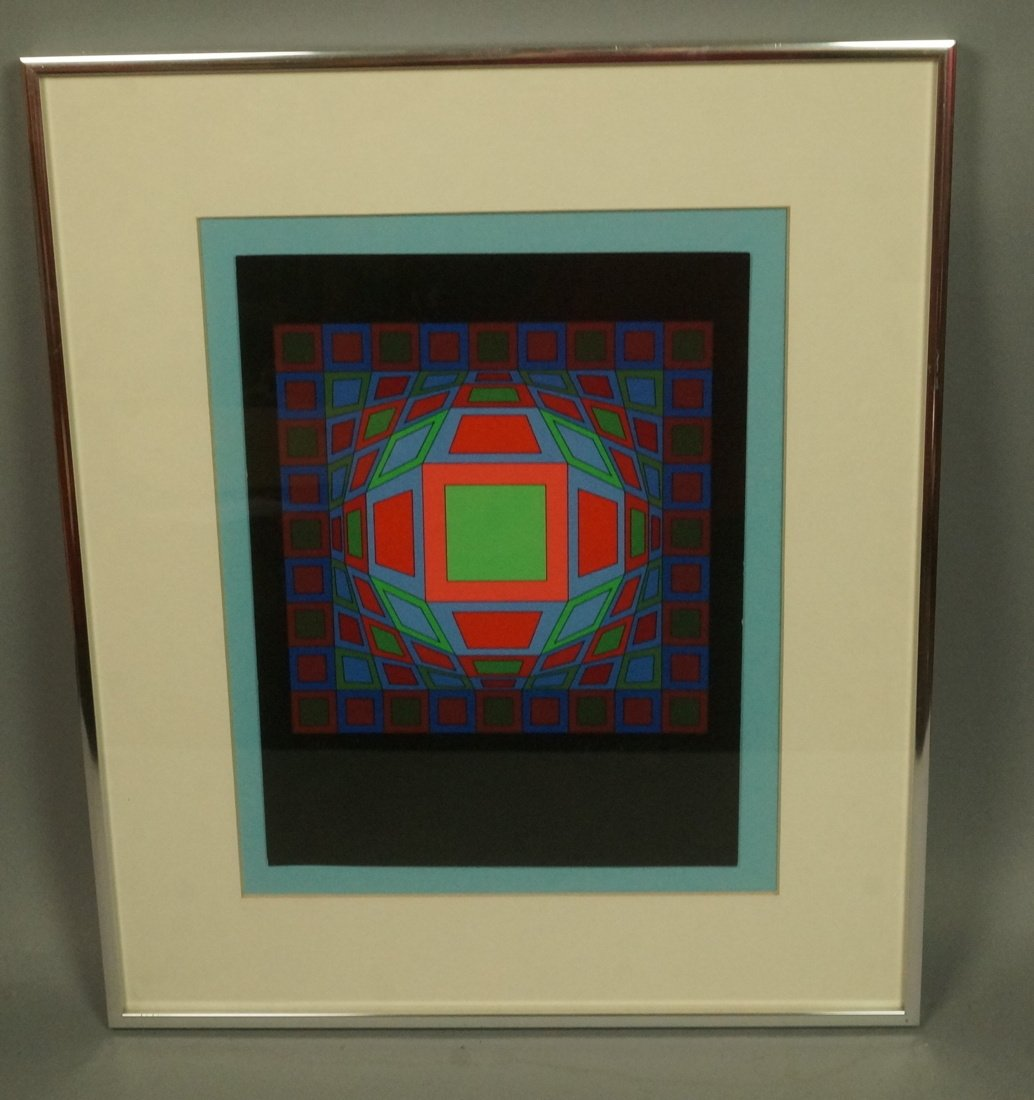 Victor Vasarely Op Art  Block Colorful Print. Sig - 2