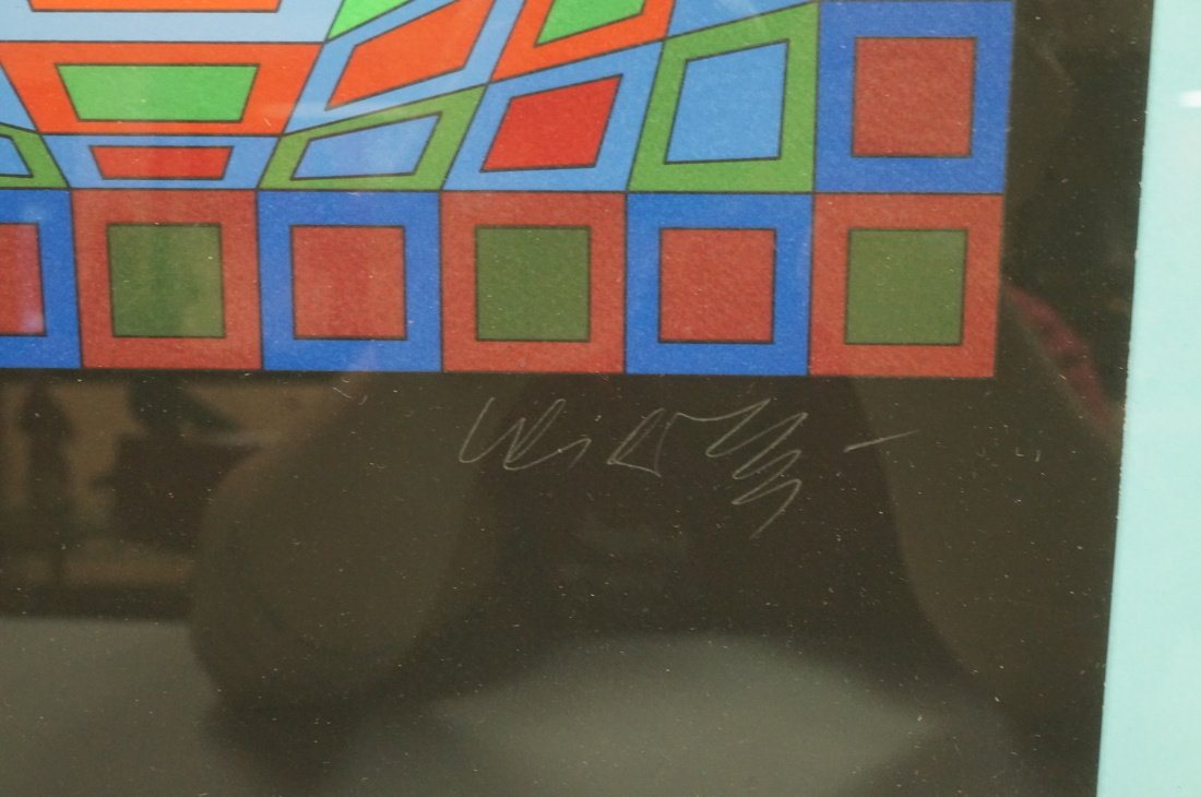 Victor Vasarely Op Art  Block Colorful Print. Sig - 3
