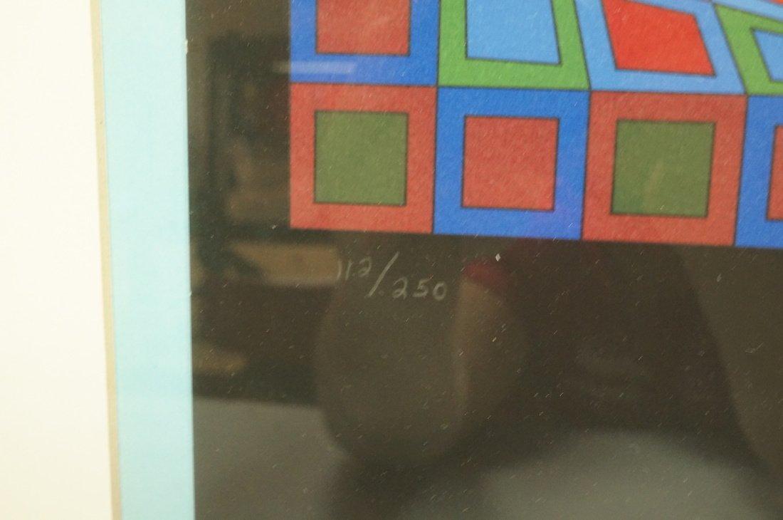 Victor Vasarely Op Art  Block Colorful Print. Sig - 4