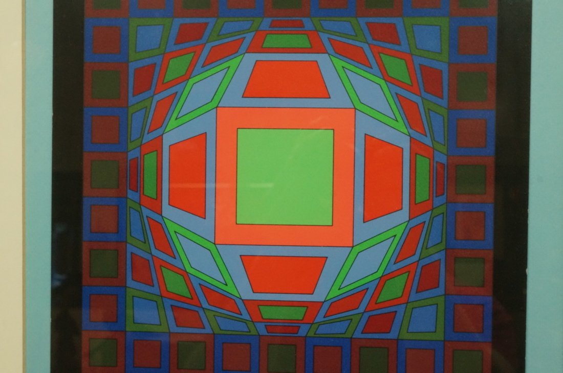 Victor Vasarely Op Art  Block Colorful Print. Sig - 5