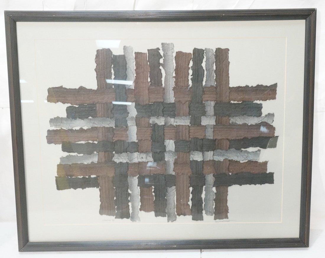 """MARY SIEBERT GABERT Woven Paper Collage Art. """"Int"""