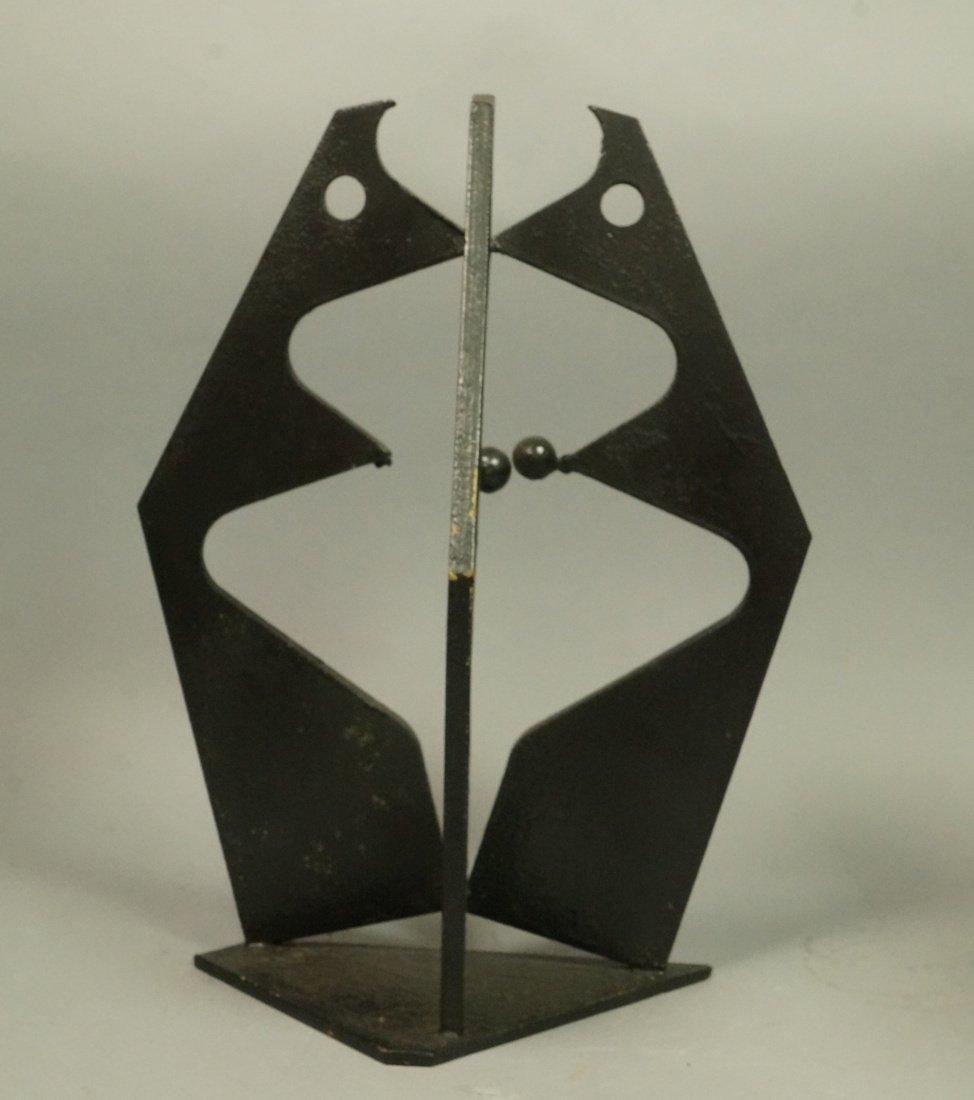 Brutalist Steel Sculpture. Modernist. Three figur