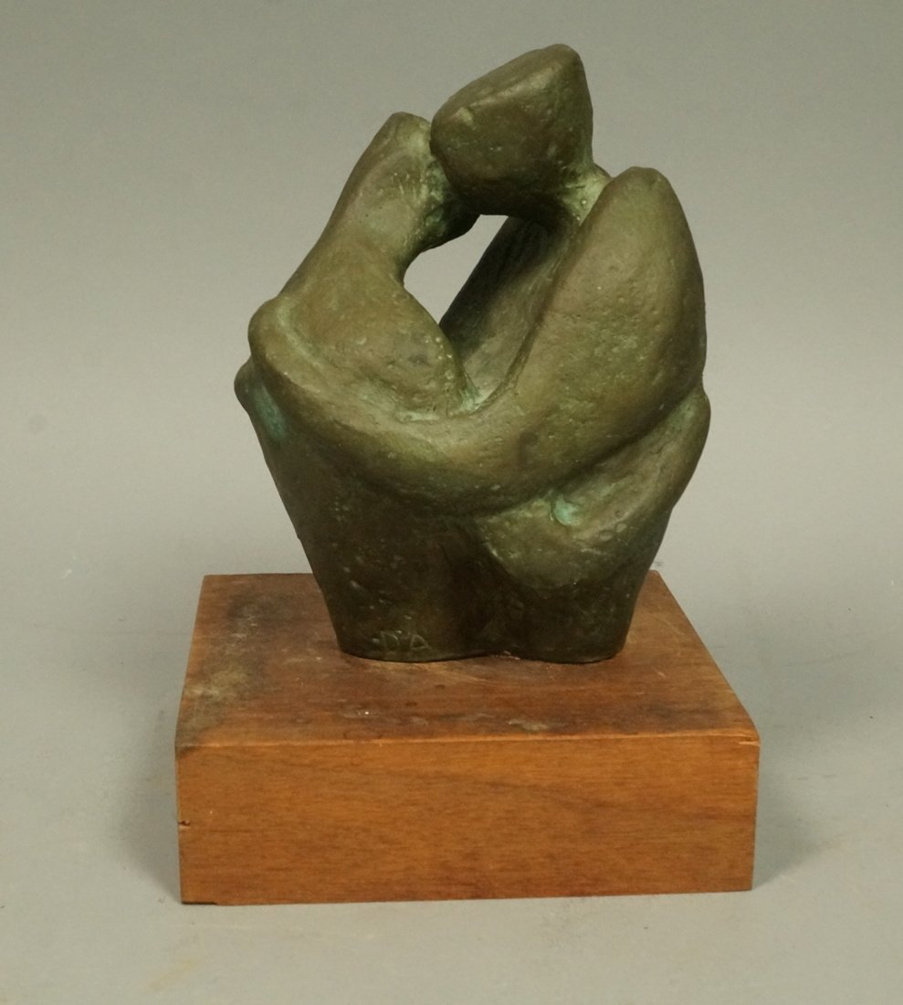 D.A. Signed Bronze Sculpture. Embracing couple. W