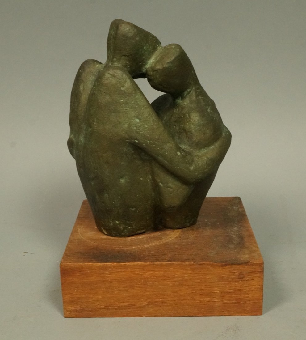 D.A. Signed Bronze Sculpture. Embracing couple. W - 2
