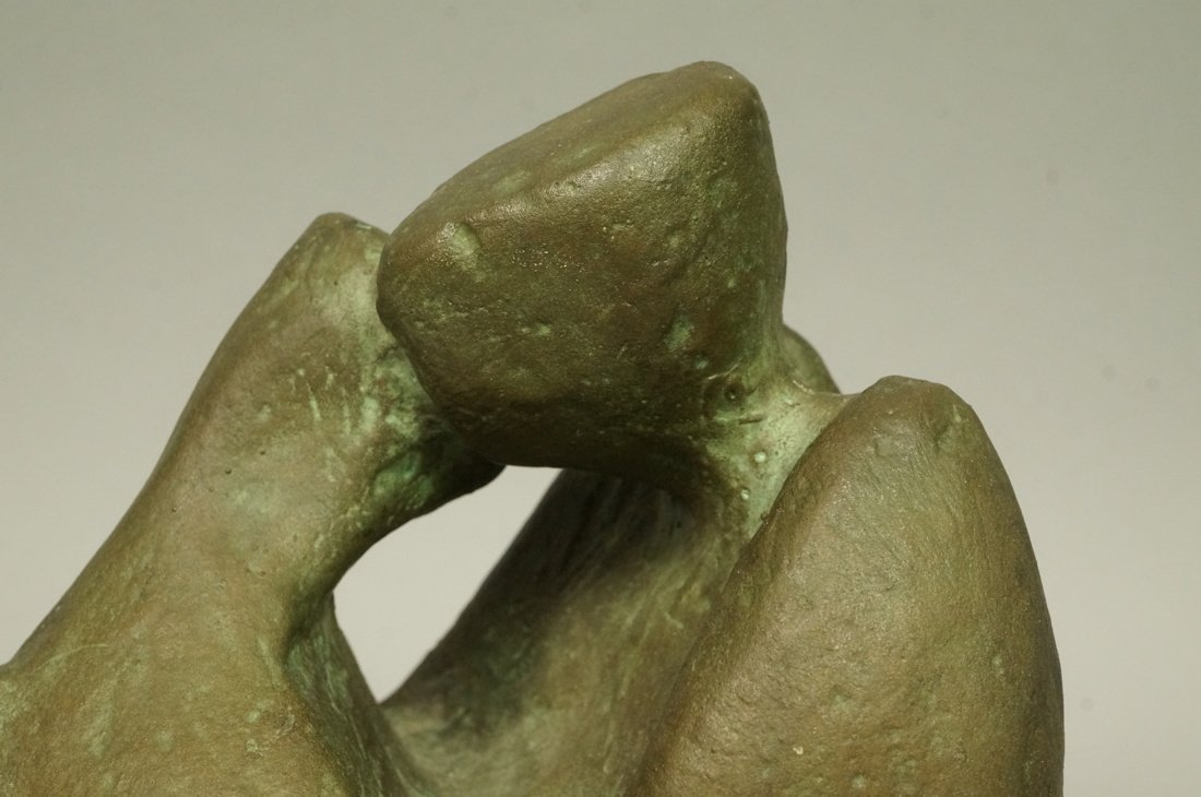D.A. Signed Bronze Sculpture. Embracing couple. W - 3
