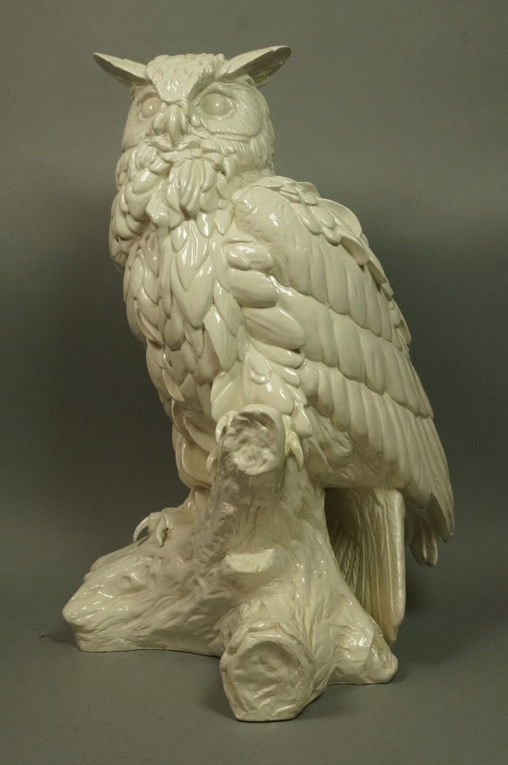 Large Italian Glazed Ceramic Owl Figure. White gl