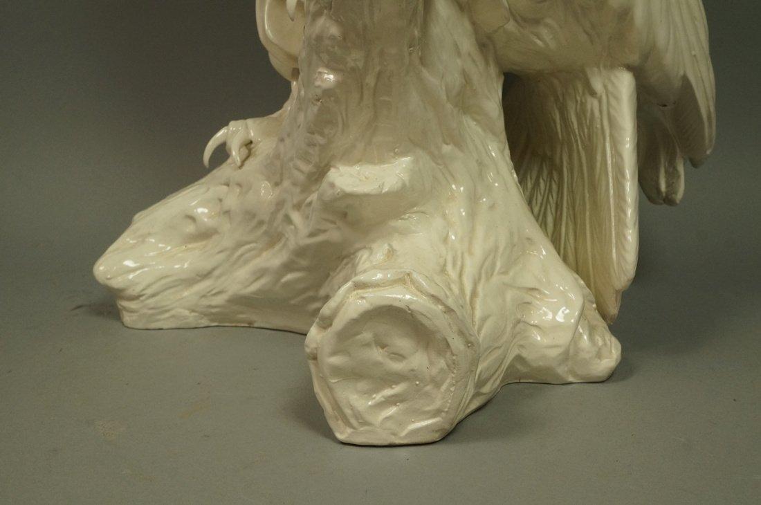 Large Italian Glazed Ceramic Owl Figure. White gl - 4