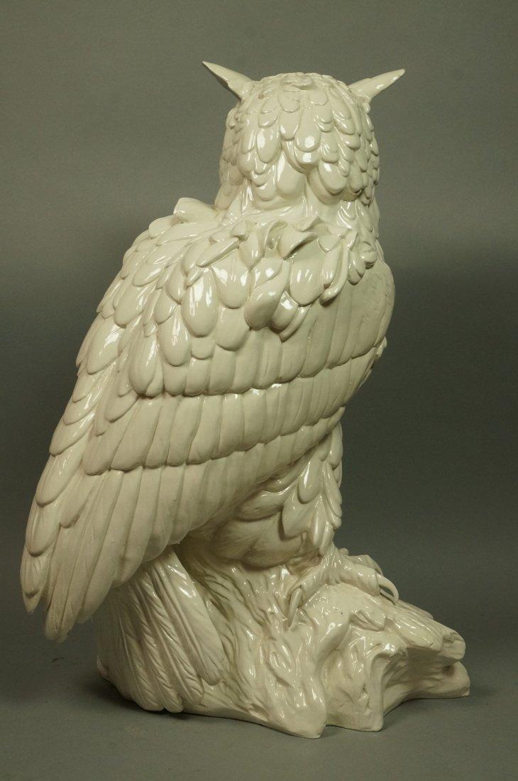 Large Italian Glazed Ceramic Owl Figure. White gl - 5