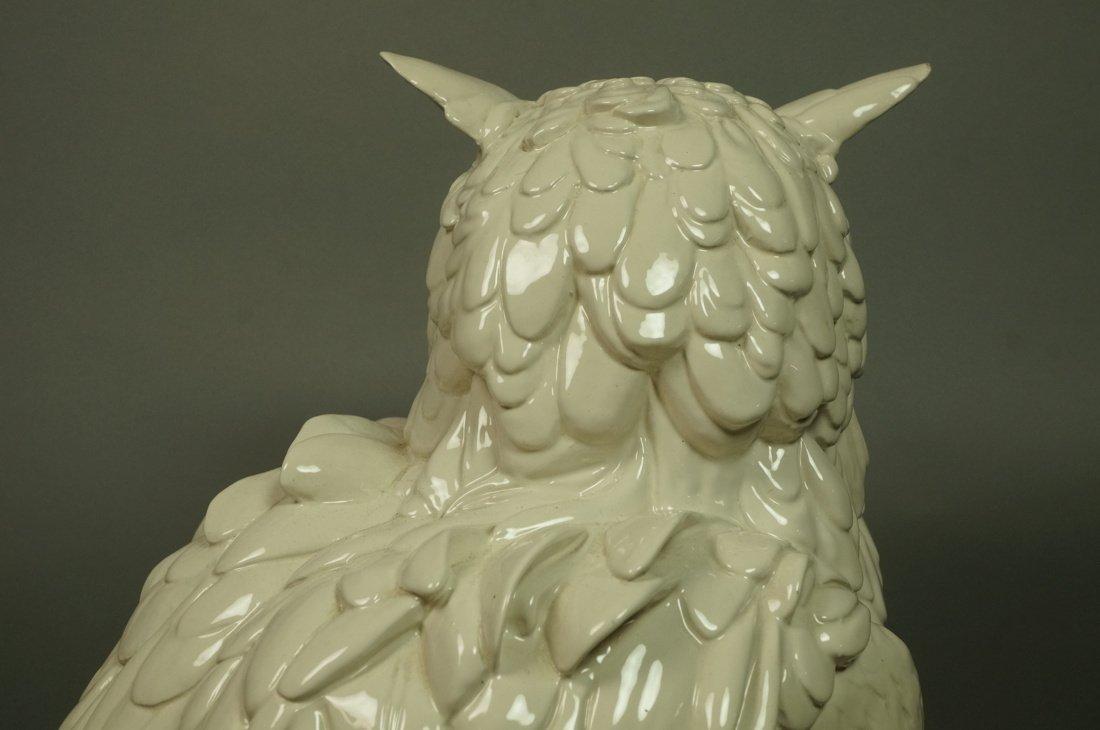 Large Italian Glazed Ceramic Owl Figure. White gl - 6
