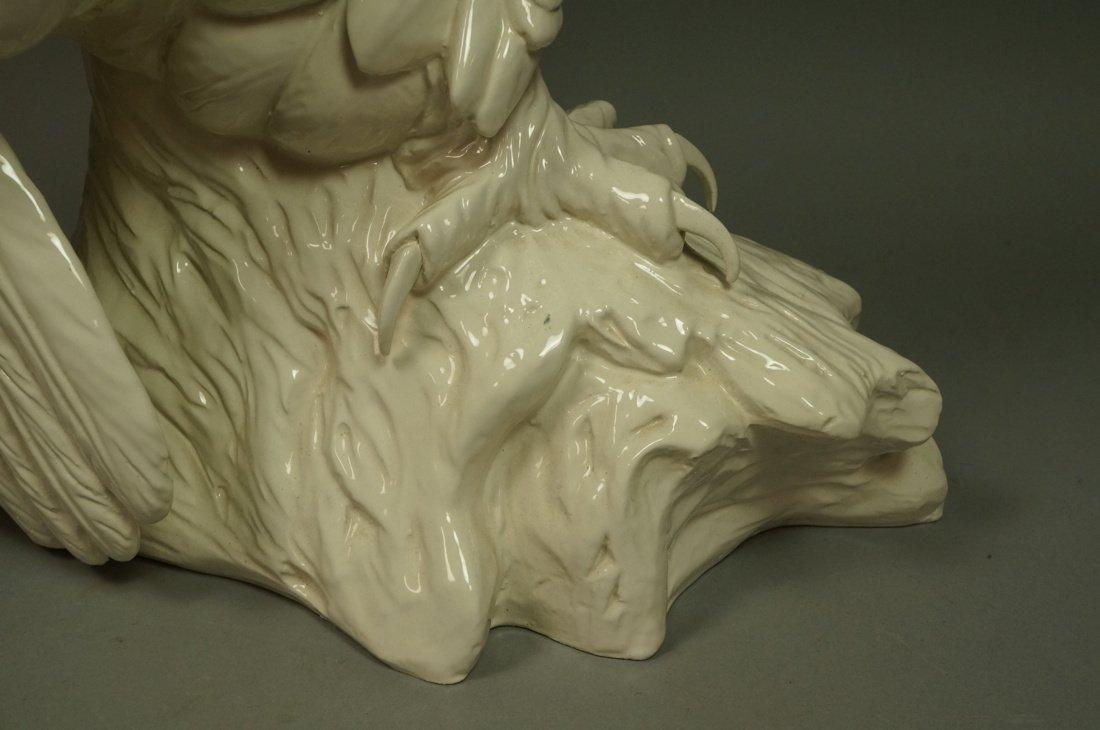 Large Italian Glazed Ceramic Owl Figure. White gl - 7