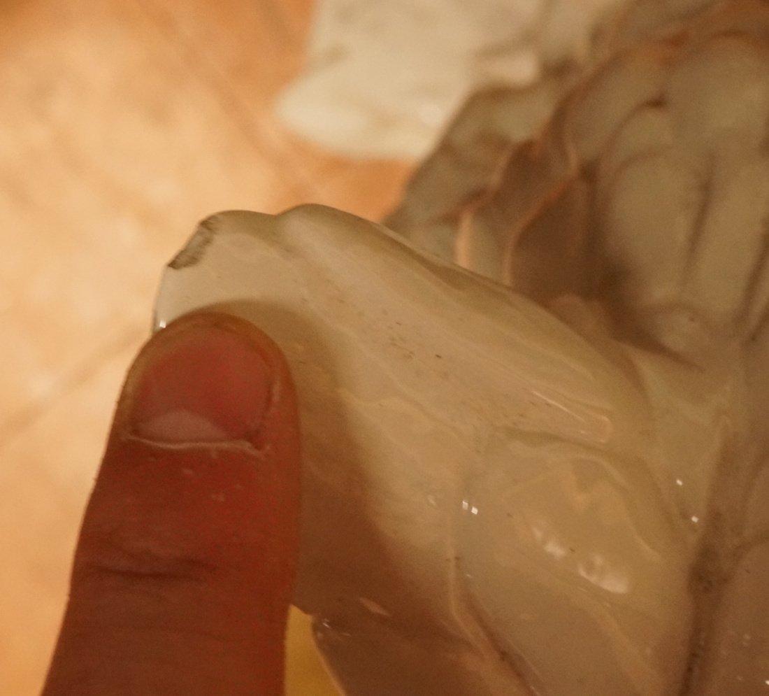 Large Italian Glazed Ceramic Owl Figure. White gl - 8