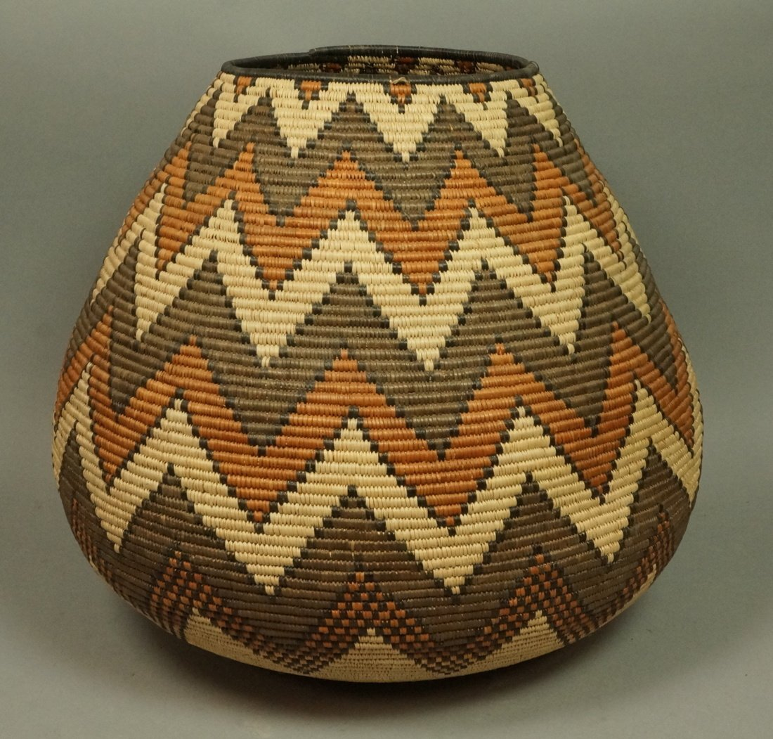 Large Indian Woven Basket. Warm browns & tan wove