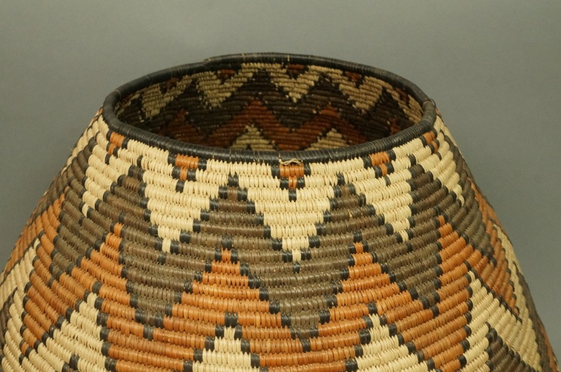 Large Indian Woven Basket. Warm browns & tan wove - 2