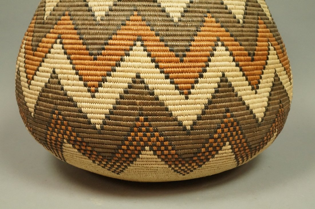 Large Indian Woven Basket. Warm browns & tan wove - 3
