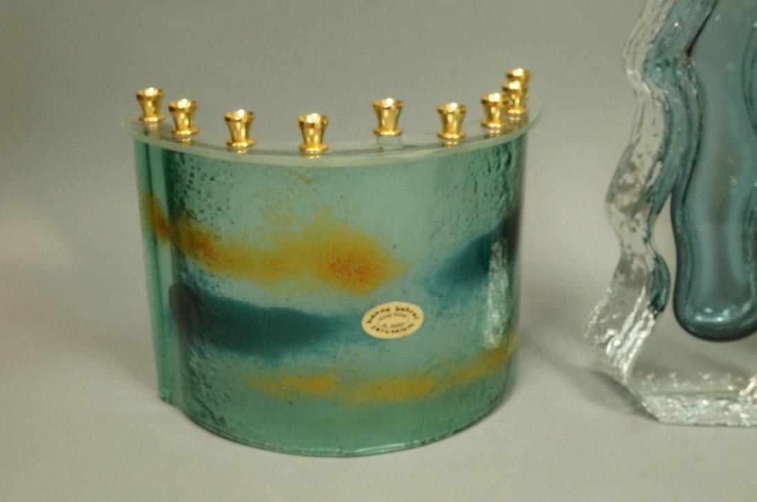 Lot 6pc Art Glass. 1) HANNA BAHRAL Art Glass Slab - 2