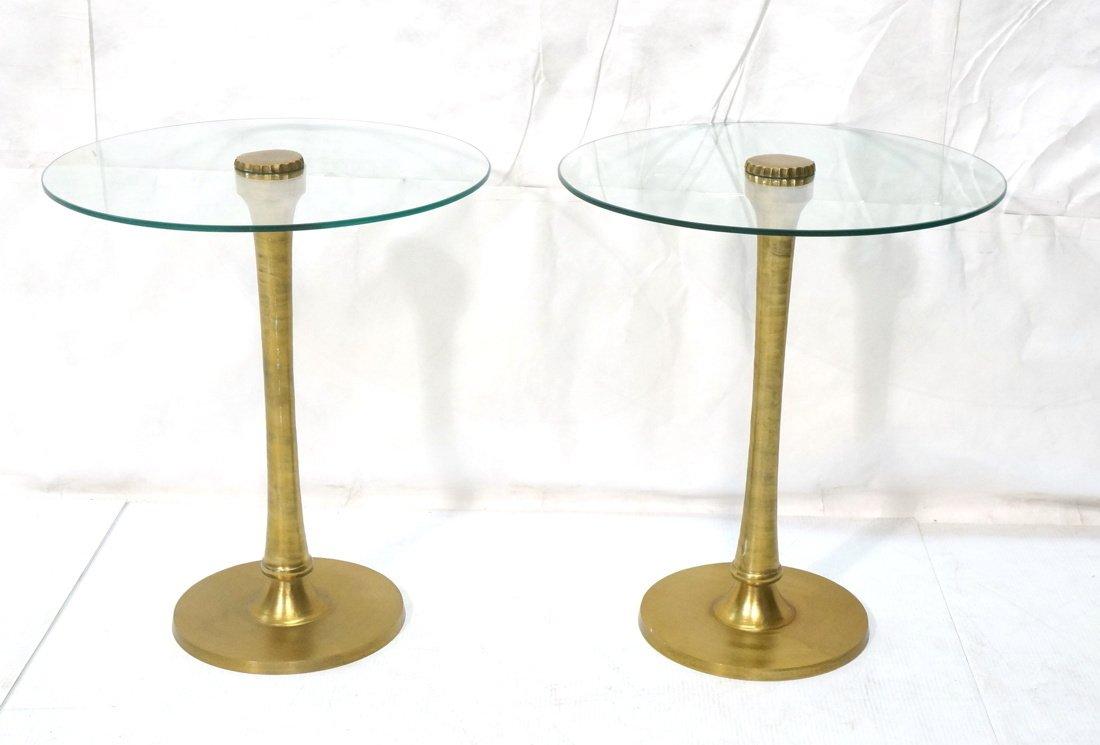 Pr Gold tone brushed aluminum glass top side tabl